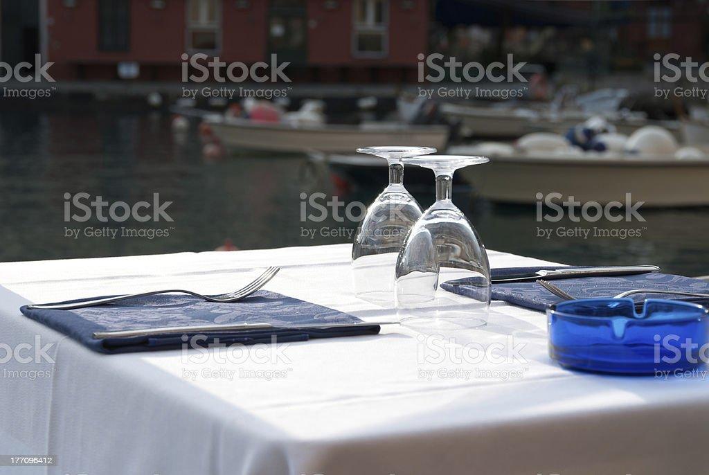 table in Portofino stock photo