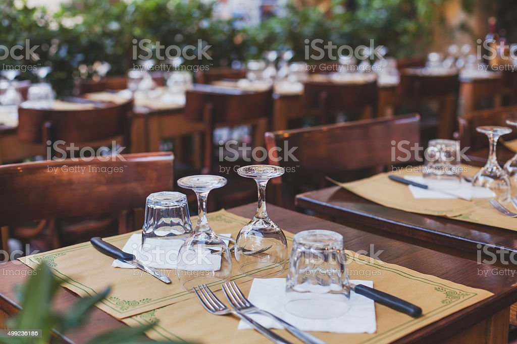 table in the restaurant in Europe stock photo