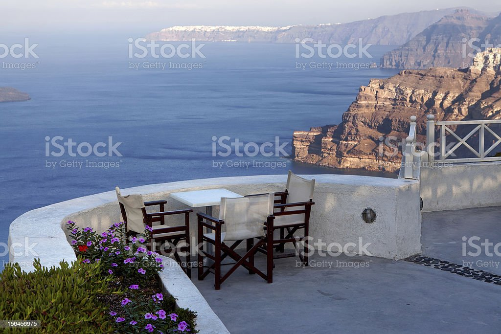 Table in the restaurant on  cliffs royalty-free stock photo