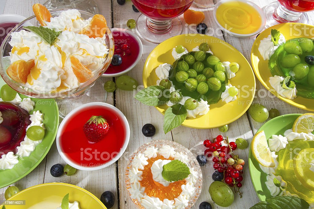 Table laden with various kinds of jellies royalty-free stock photo