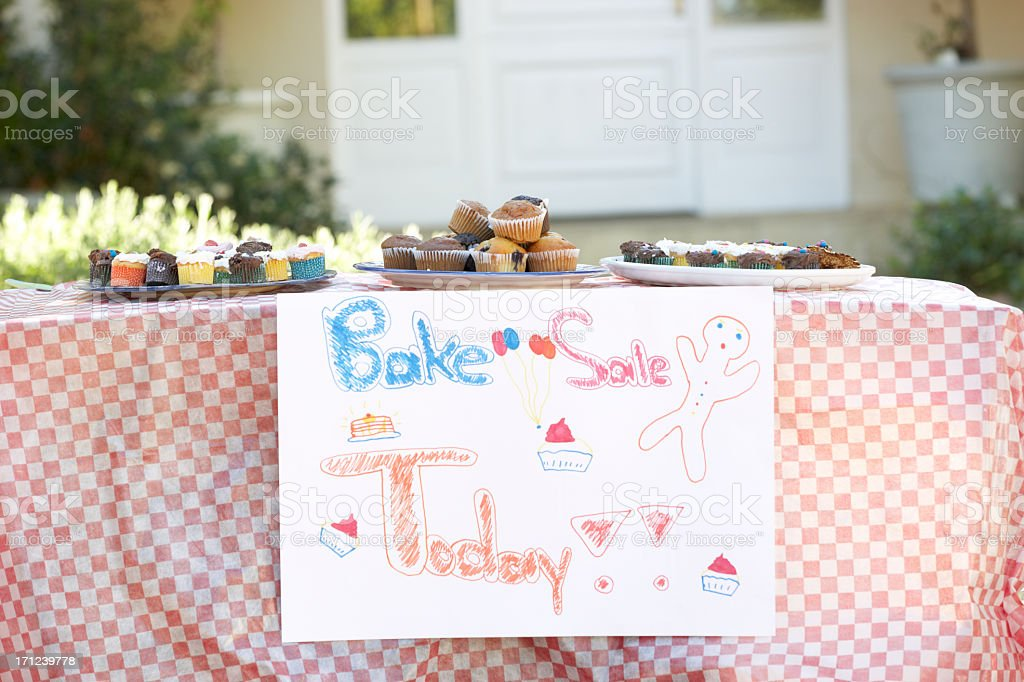 Table Laid Out For Bake Sale stock photo