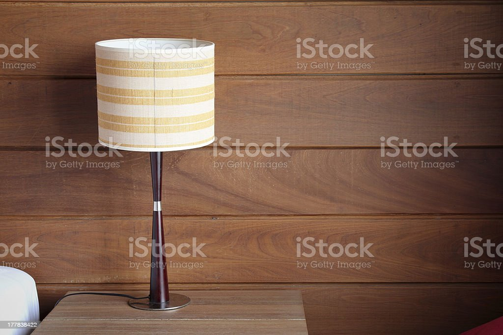 table lamp on bedroom stock photo