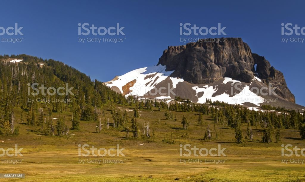 Table Mountain above Garibaldi Lake in BC Coast Mountains stock photo