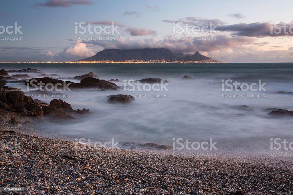 Table Mountain at Dusk stock photo
