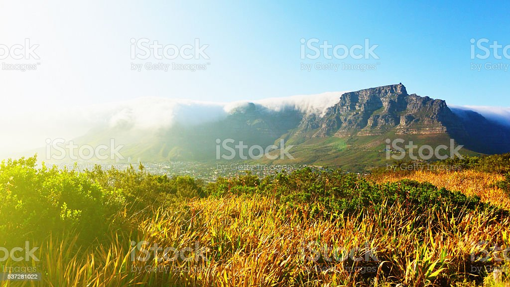 Table Mountain Cape Town, tablecloth, travel, tourism, beautiful, scenics, landmark stock photo