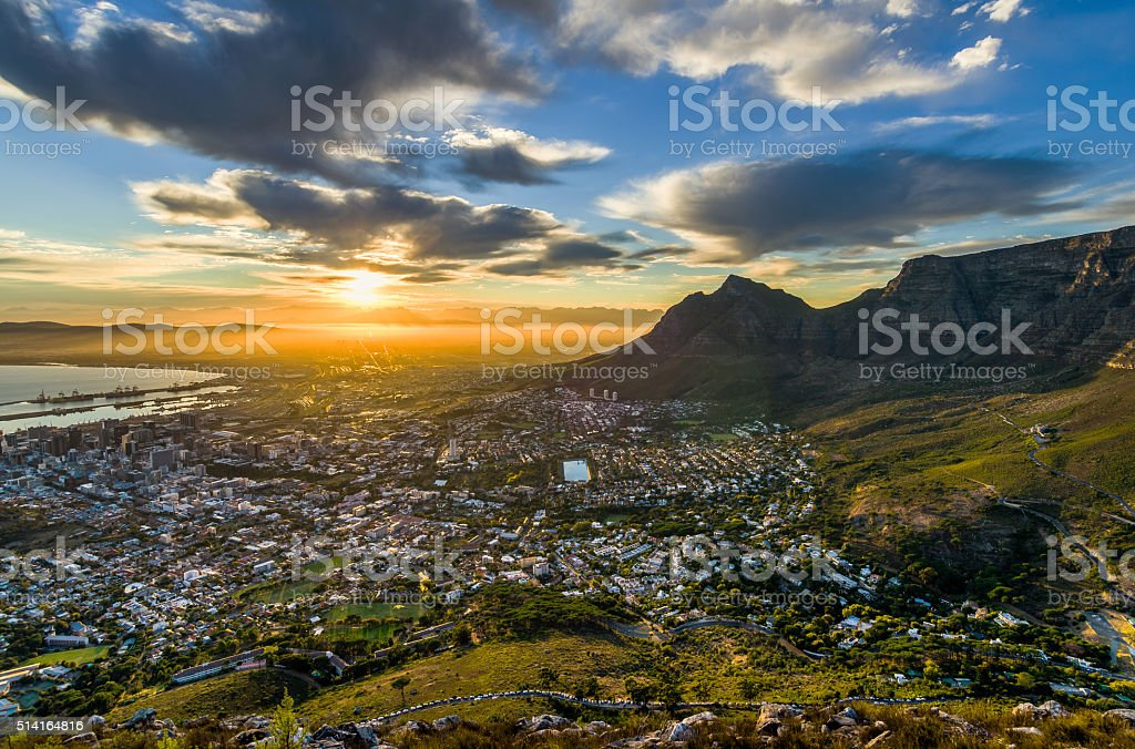 Table Mountain cloudy sunrise stock photo