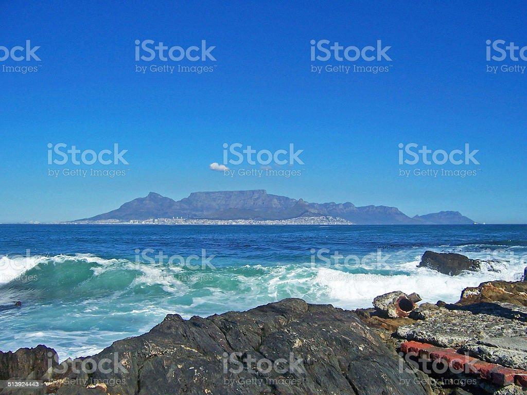 table mountain from robben island stock photo