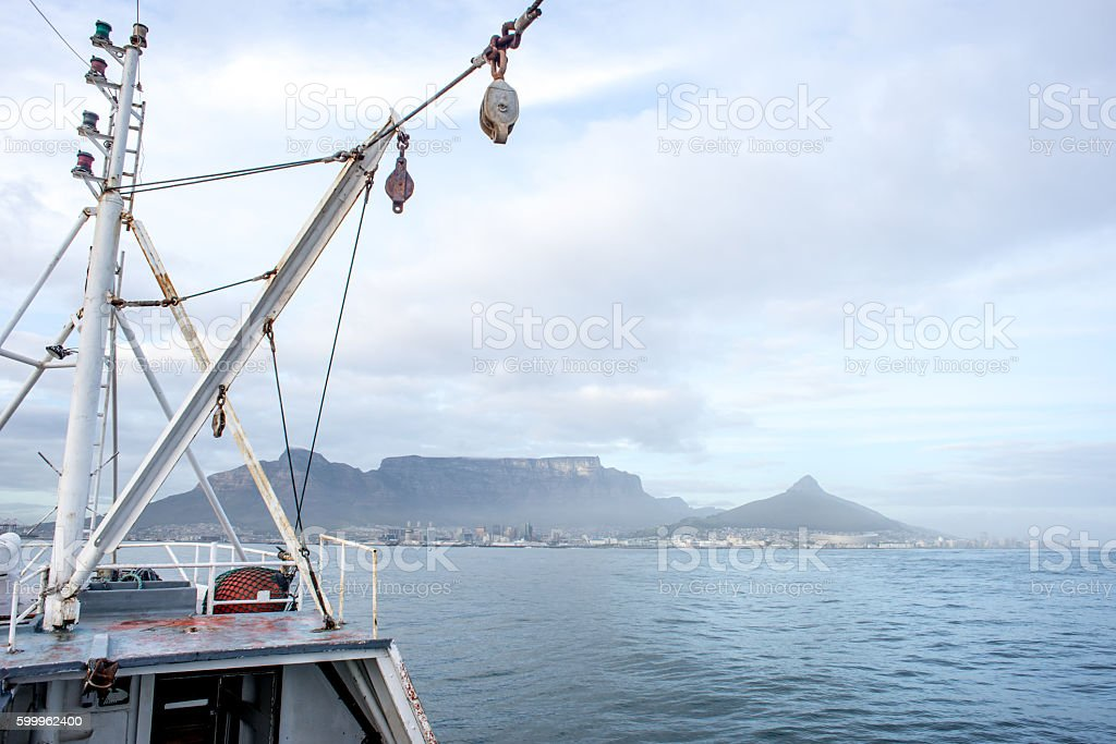 Table Mountain from the Deck of Fishing Trawler stock photo
