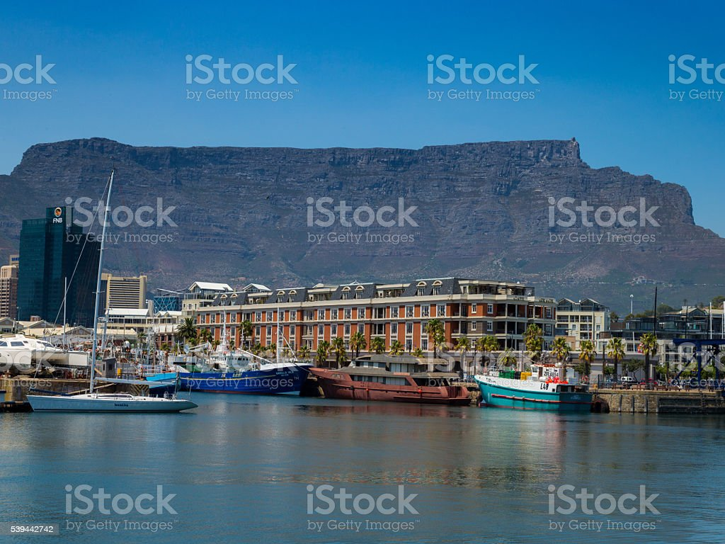 Table Mountain From V&A Waterfront Cape Town stock photo