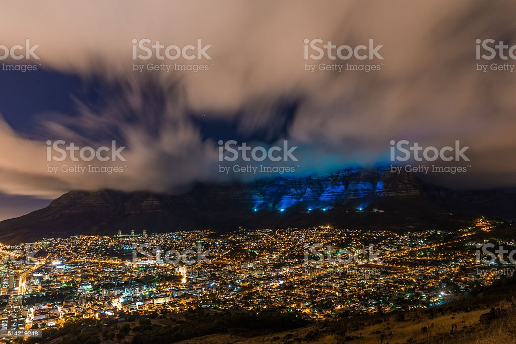 Table mountain lit up blue stock photo