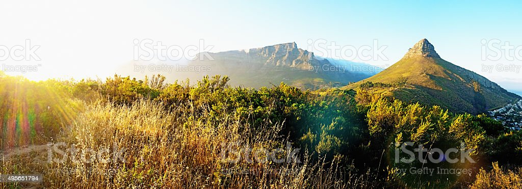 Table Mountain National Park panorama in early morning haze stock photo