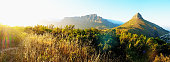 Table Mountain National Park panorama in early morning haze