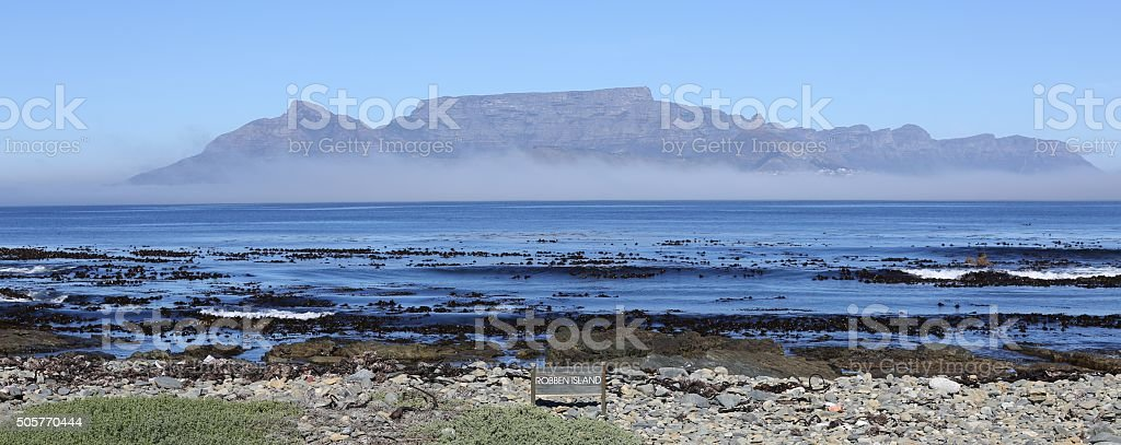 Table Mountain seen from Robben Island stock photo