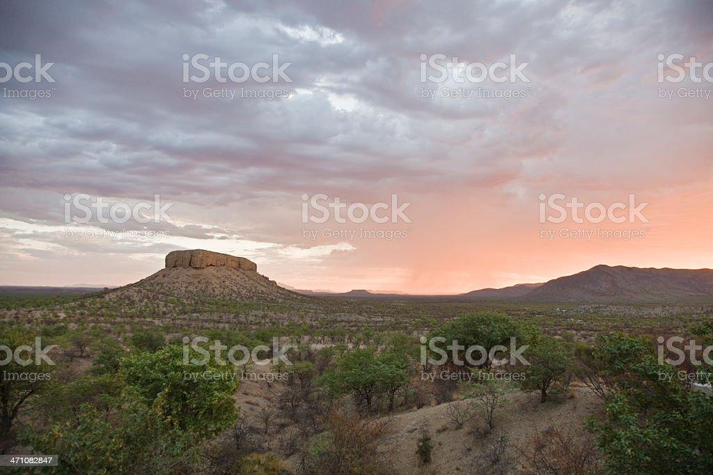 Table Mountain Vingerklip Namibia Twilight stock photo