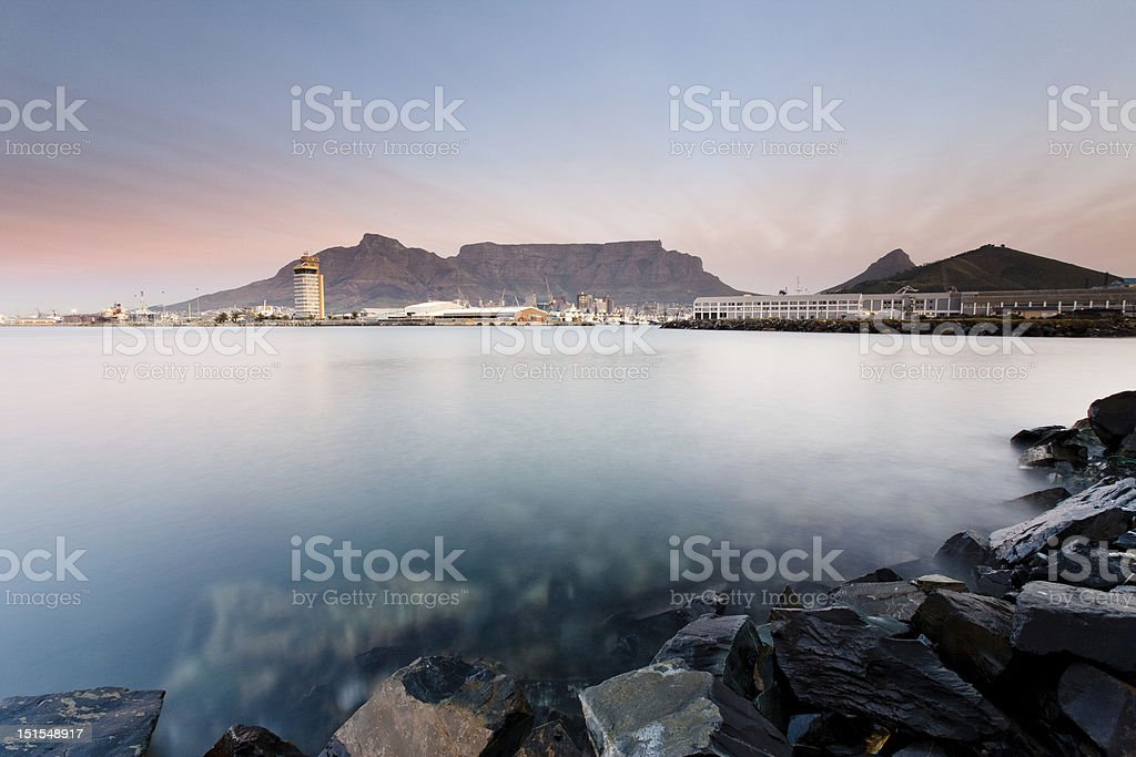Table Mountain with harbour, Cape Town, South Africa stock photo
