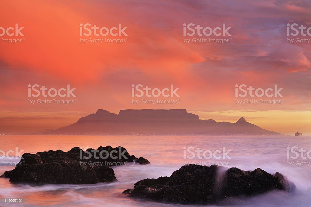 Table Muntain and Cape Town royalty-free stock photo