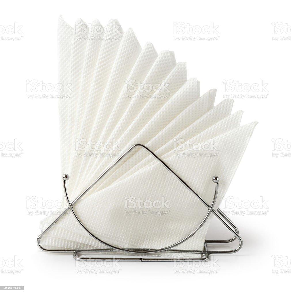 Table napkin holder with napkins stock photo