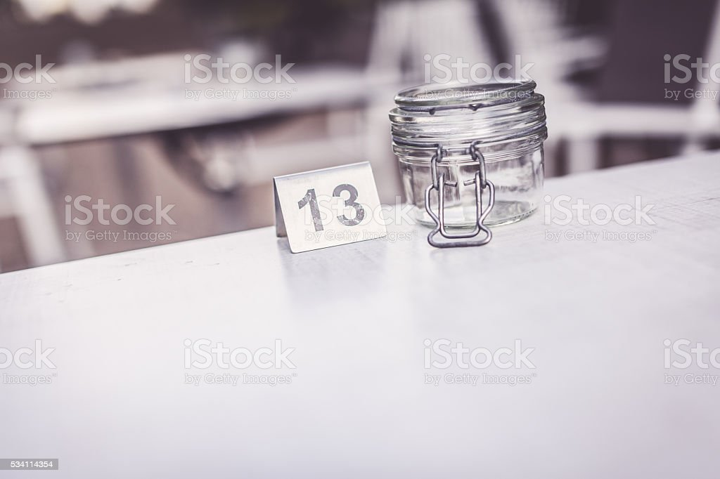 Table number 13 stock photo