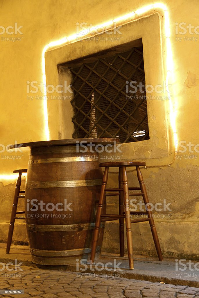 table of a bar made with  small barrel stock photo