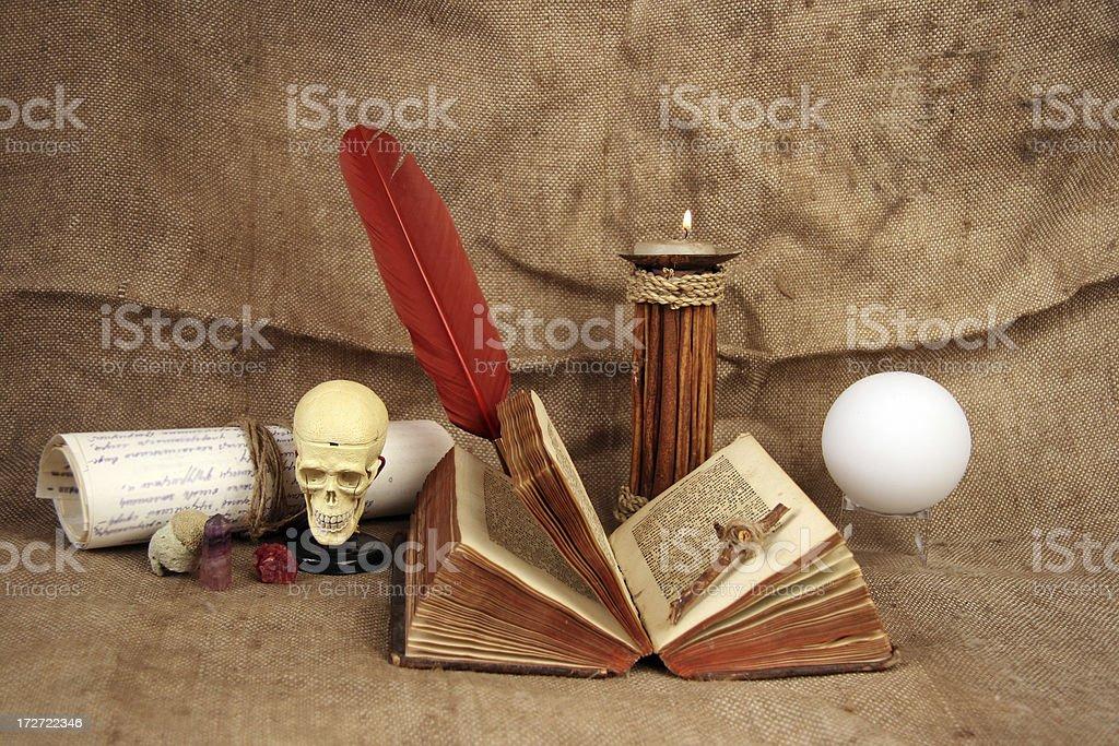 Table of  alchemist stock photo