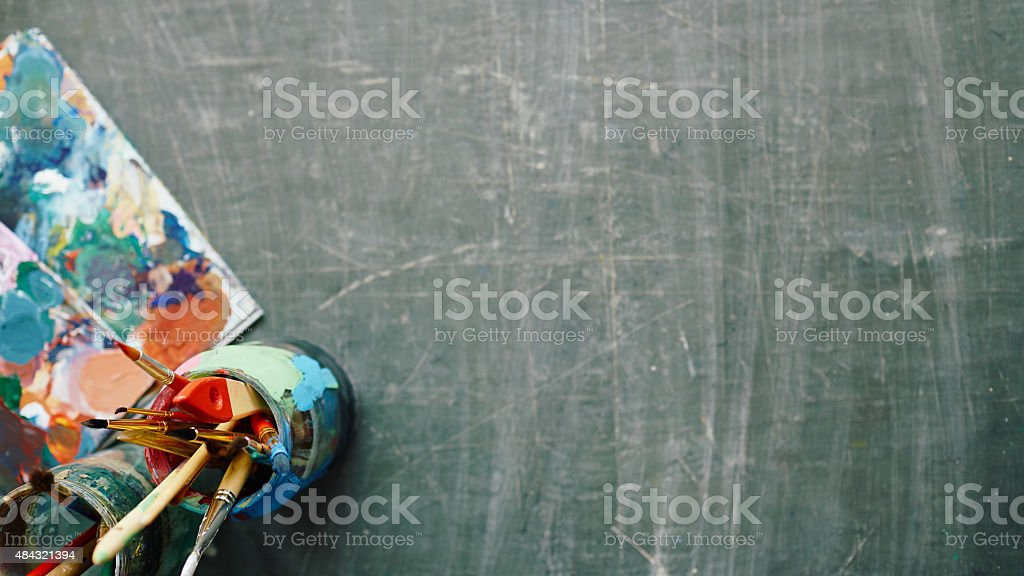 Table of artist stock photo
