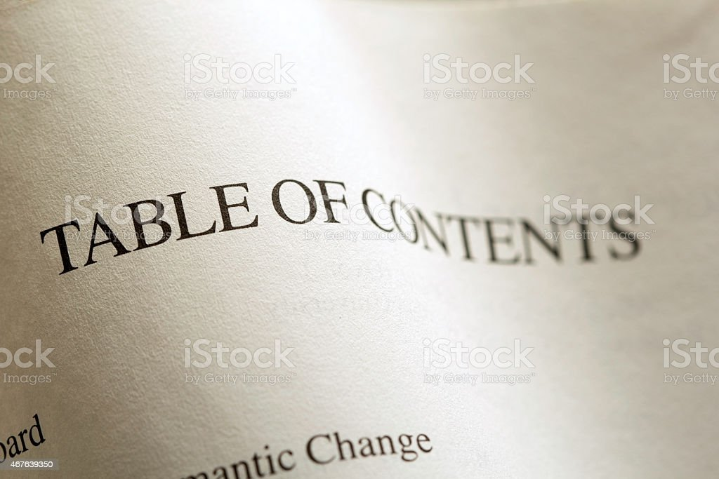 Table of Contents two stock photo