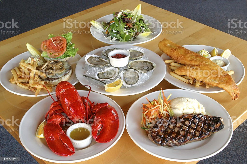 Table of food items found in a menu. stock photo