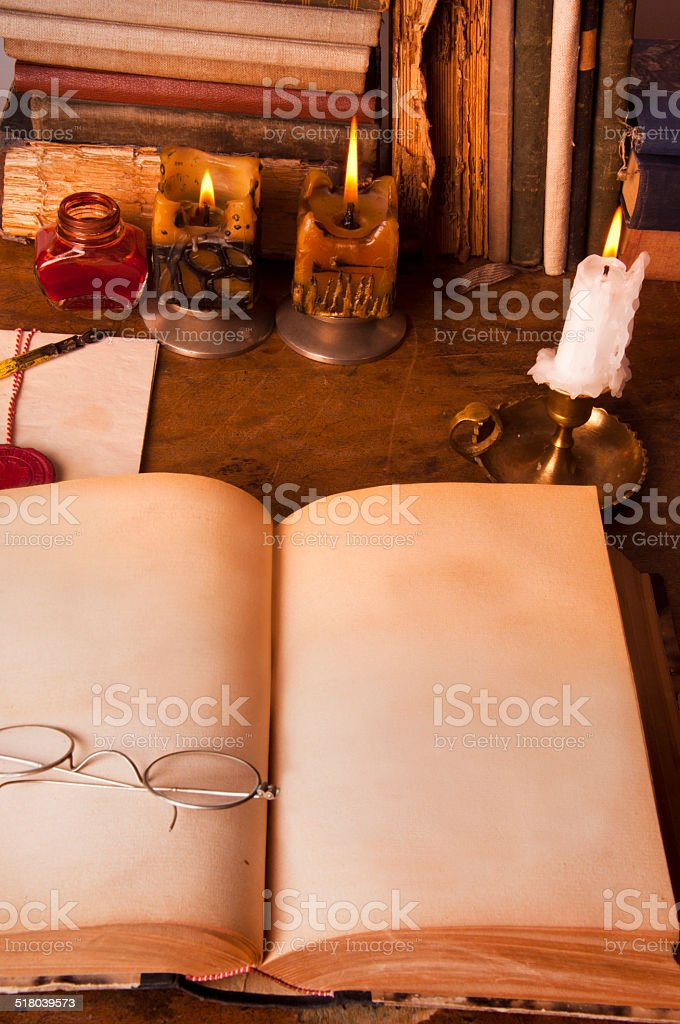 table of writer stock photo
