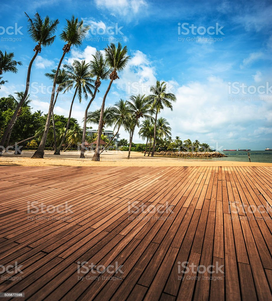 Table on a summer tropical island stock photo