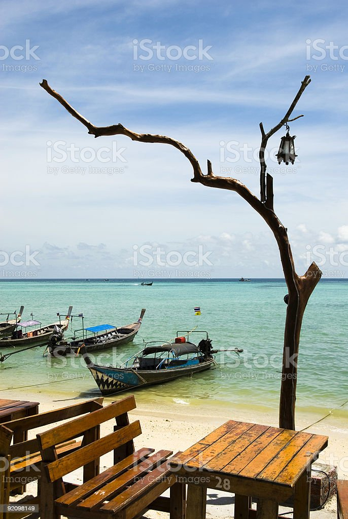 Table on beach in Thailand royalty-free stock photo