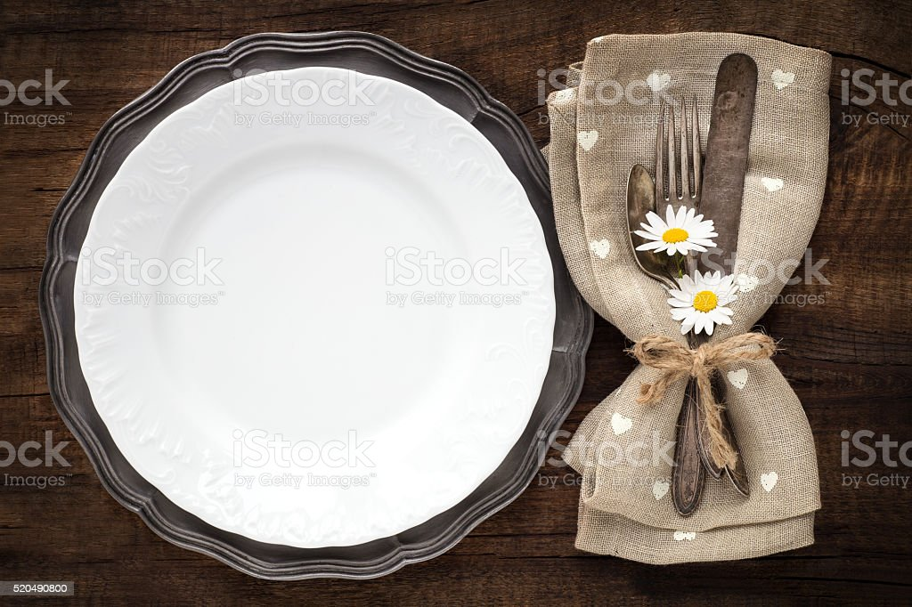 Table place setting stock photo