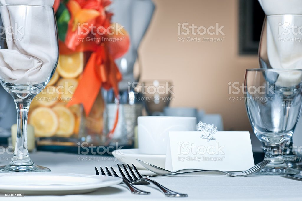 Table place setting with colorful center piece stock photo