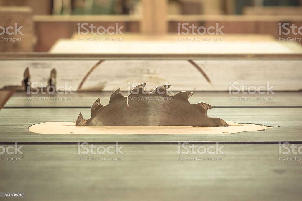 table saw close up construction power tool stock photo