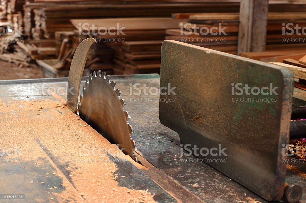 table saw in workshop stock photo