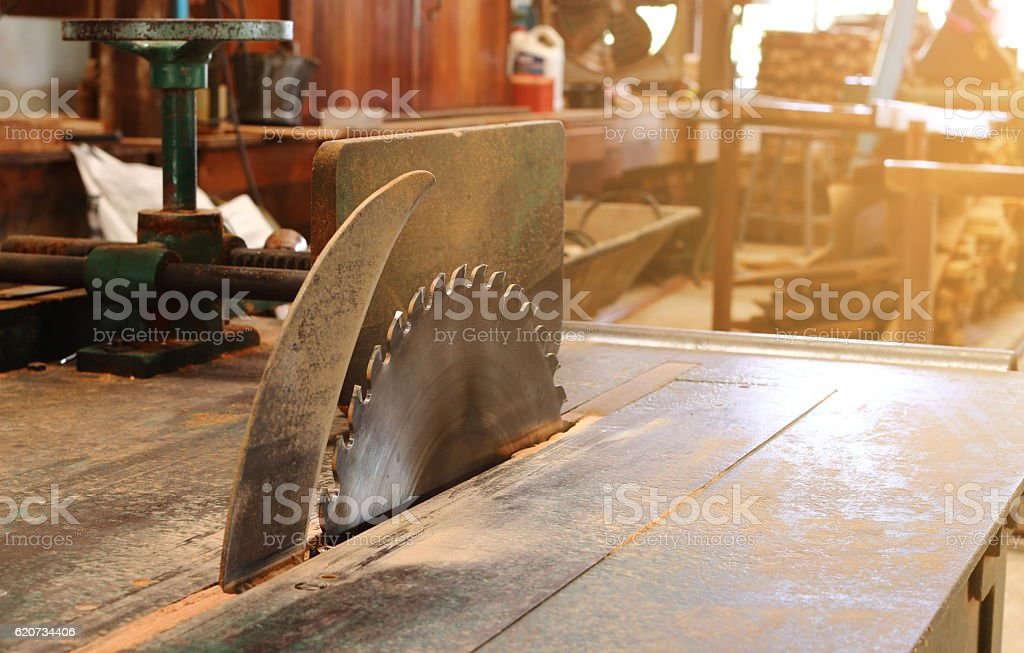 Table saw in workshop.sunshine effect. stock photo