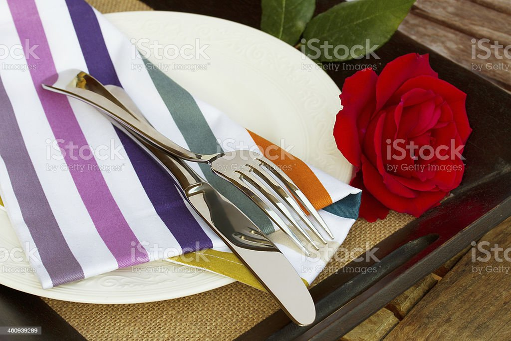 table serving with knife and fork stock photo