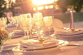 Table set dinner at sunset