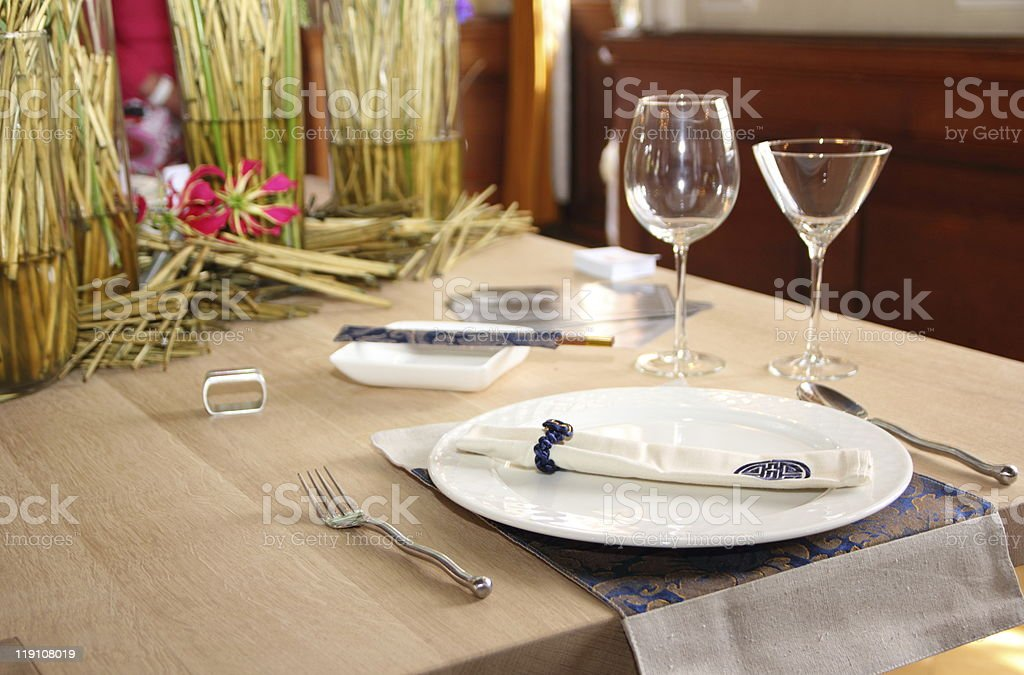 Table set for a dinner stock photo