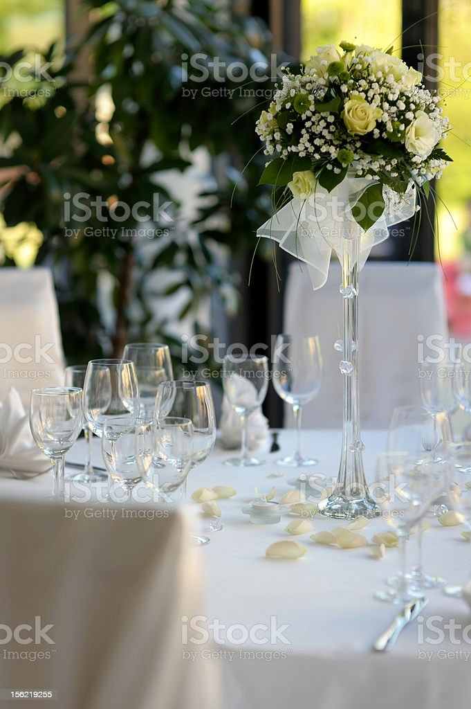 Table set for a festive party or dinner royalty-free stock photo