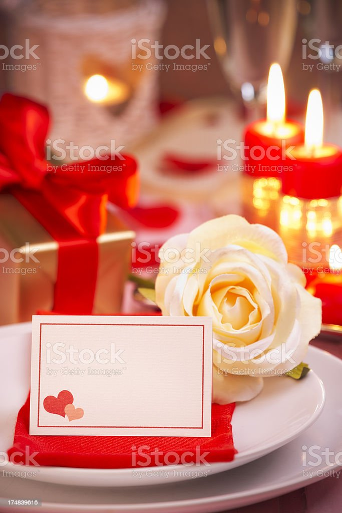 Table set for a romantic Valentine's dinner royalty-free stock photo
