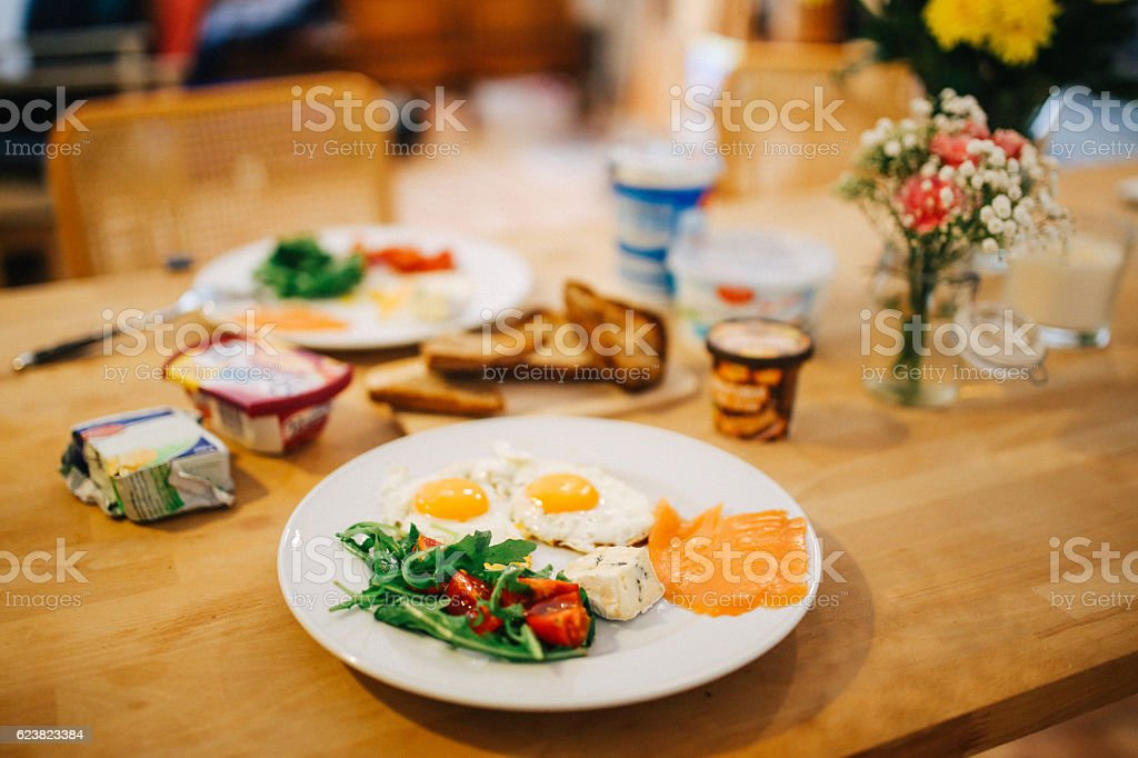 Table set for breakfast stock photo