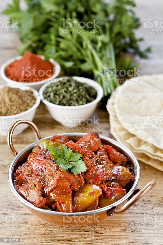 Table set for dinner with Indian curry stock photo