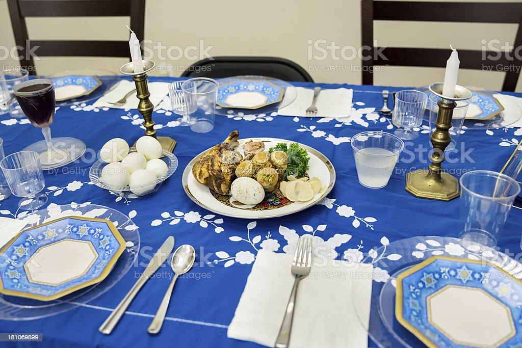 Table set for Passover Seder stock photo