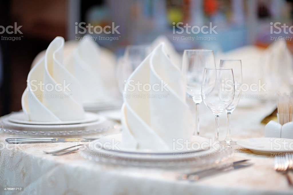Table set for reception stock photo