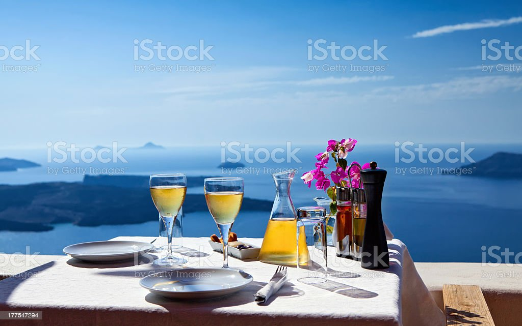 Table set for two with a sea view royalty-free stock photo