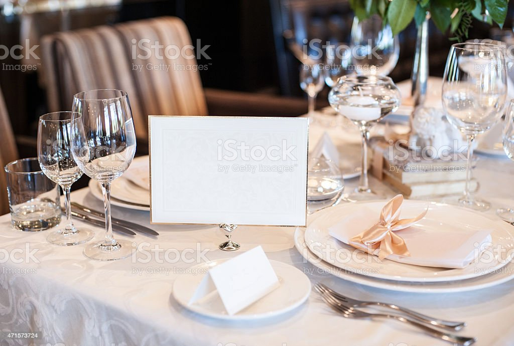 Table set for wedding party stock photo