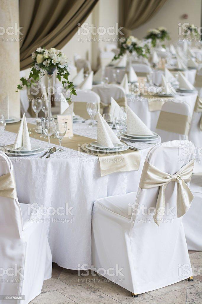 Table set for wedding stock photo