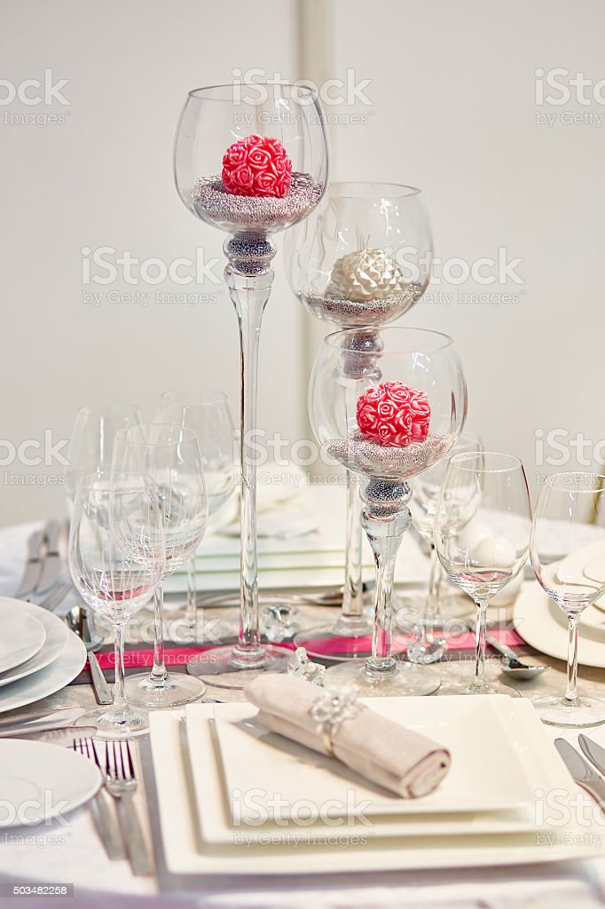 Table set for wedding reception stock photo