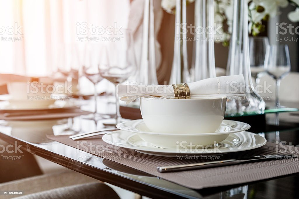 table set on dinning table stock photo