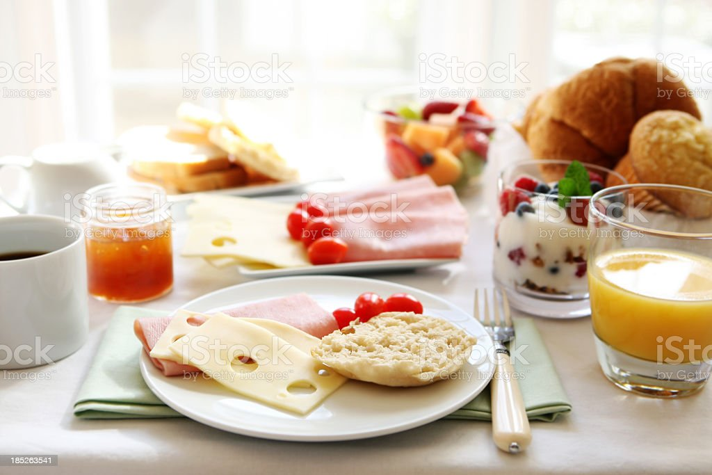 A table set with breakfast food royalty-free stock photo
